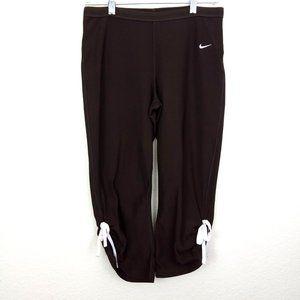 Nike Dri-fit Brown Gathered Hem Capri Leggings